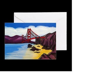 San Francisco Golden Gate Bridge #4 - 4 Greeting Cards By Artist A.V.Apostle