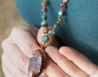 Agate Wild Mala with Wire-Wrapped Arrowhead