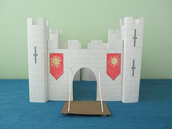 cut out castle template - 3d paper castle craft instant download template