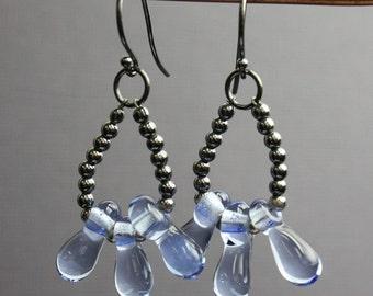 Blue Bead Earrings, Blue Lampwork Earrings, Blue Beaded Earrings, Glass Earrings, Lampwork Earrings, Kathy Bankston, Glass Jewelry