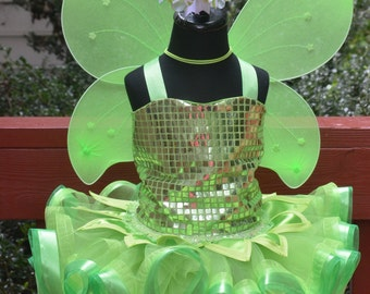 Tinkerbell Tink Fairy tutu dress costume with wings and hair bow
