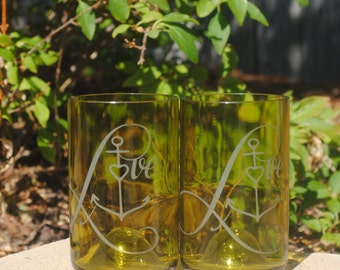 Love Anchor Wedding Heart Yellow Tumbler Recycled Wine Bottle Glass Set (2)  Heart, Reduce Reuse Recycle, Cheers, Eco Friendly, Upcycle