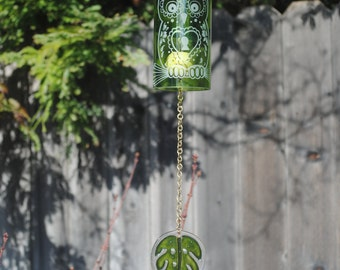 Green/Brass Owl Locket Wine Bottle Windchime, Windcatcher, Eco Friendly, Green, Upcycle, Recycle, Winebottle