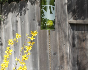 Windchime Sloth - Green/Brass, Upcycled Windchime, Windcatcher, Eco Friendly, Outdoor Decor