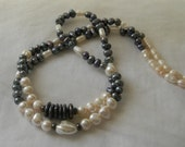 Baroque cultured pearl strand necklace , bi color pearl necklace , peacock grey and ivory pearls , long pearl strand , single/ double strand