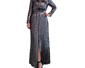 Amazing Black and Charcoal Grey Long Sleeve Sequin Maxi Dress Gown