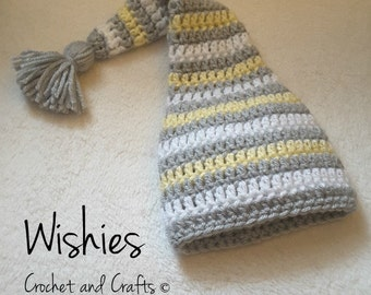 Newborn Crochet Baby Hat, Crochet Baby Hat, Pixie Baby Hat, Crochet Pixie Hat, Striped Baby Hat