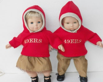 "Bitty Baby clothes doll twin boy and girl, matching handmade 15"", Red Khaki Polar Fleece Hoodie Football Fan skirt, pants, hooded sweatshirt"