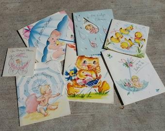 7 Vintage 1960s Assorted Baby Shower Cards
