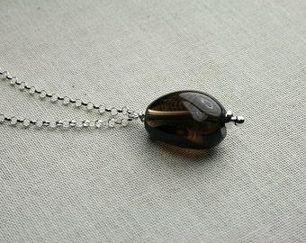 Smoky quartz necklace, quartz bead necklace, smoky quartz, quartz, smoky quartz and silver necklace, quartz bead necklace, quartz bead