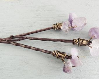Purple Amethyst Hair Pins Decorative Hair Pins Rustic Boho Hair Pins Bohemian Wedding Hair Accessory Natural Gemstones Set of 3 Hair Pins
