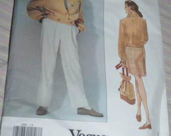 Vogue 2960 Perry Ellis  Misses Jacket  Skirt and Pants Sewing Pattern - UNCUT - Size 8 10 12