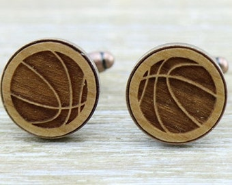 Basketball Laser Cut Copper Wood Cufflinks - Basketballer - Sporty Present - Groomsmen Gift - Groom Cuff Links - Personal Gift - Unique gift