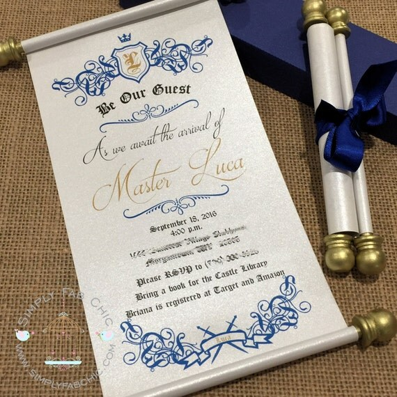 Royal Prince Princess Scroll Invitation Birthday Wedding – Princess Scroll Birthday Invitations