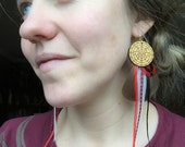 Sri Yantra Feather Earrings in Gold with Red, White and Black Feathers