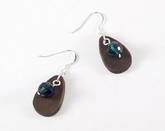 Emerald Green Crystal Earrings, Wood Dangle Earrings, Teardrop Earrings, Casual Earrings, Wood Earrings, Silver Earrings