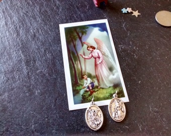 CHOOSE Guardian Angel St Michael Saint medal pendant or prayer card VTG religious Back to School jewelry birthday baptism confirmation gift