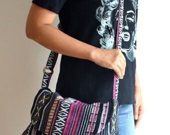Women Hippie Messenger Bag Handbags Nepali Woven Bag Crossbody Bag Boho Bag Cotton Shoulder Bag Tribal Purse Ethnic Bag, Whisper of a Witch