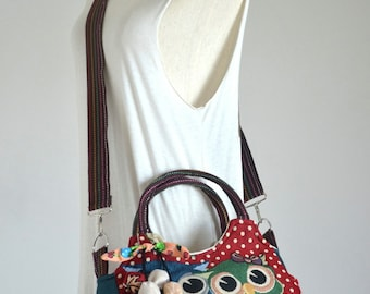 Vintage Hippie Style Handbag Owl Crossbody Bag Boho Hobo Bag Shoulder Bag Sling Messenger Bag Chic Purse, Family Owls (Red Polka Dot)