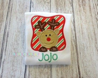 Boys Reindeer Box Appliqued Shirt - Embroidered, Personalized, Monogram, Reindeer, Boys, Christmas, Holiday, Reindeer Box Shirt, Boys