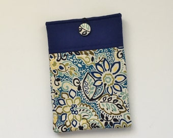 Navy Blue iPad Mini Cover / Kindle HD Cover, Floral E-Reader Sleeve, Tablet Sleeve, E-Reader Case