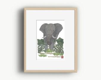 Modern Elephant Art, Elephant Artwork, Elephant Wall Art, African Animal Art