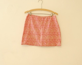Pink Floral Mini-Skirt with Ruffle -  Early 90s