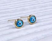 Evil Eye Earrings / Evil Eye Stud Earrings / Gold Stud Earrings / Evil Eye Jewelry / Blue Evil Eye/ Sterling Silver Evil Eye   0064EM