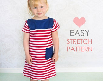 Girls Dress pattern PDF, Childrens sewing pattern pdf, Kids sewing pattern, stretch sewing pattern, girls sewing pattern PDF, CHARLOTTE
