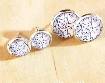 Cats Resin Post Silver Earrings