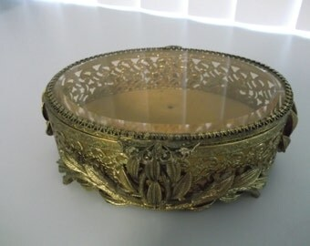 Vintage Rococo Style Filigree Jewelry Box Jewelry Casket Hollywood Regency french Casket Stylbilt