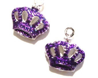 8pcs PURPLE CROWNS Brass with Enamel Charm Pendants