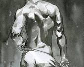 """Print of Original Artwork Watercolor Painting Erotic Male Man Nude Gay """"Light drops"""""""