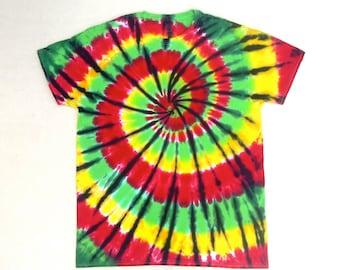 XL Tie Dye Shirt- Rasta Spiral
