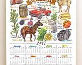 Kentucky Wall Calendar 2017, home decor, state art, illustration, 11x14, Bluegrass State.