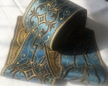 Beautiful French Teal Decorated Silk Wide Trim 1m