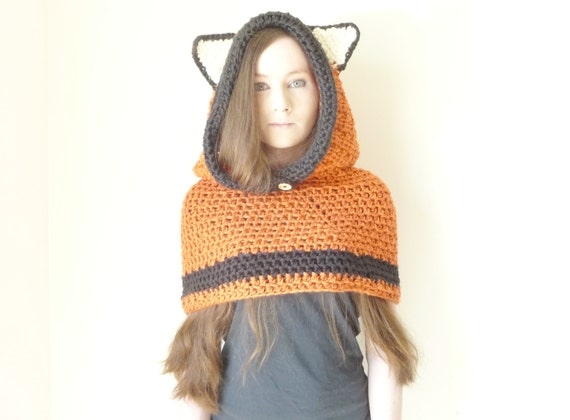 Animal Hoodie Knitting Pattern : Hooded Cowl Fox Hat Fox Hood Crochet Knit Fox Hoodie Animal
