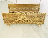 Ornate Napkin Holder, Ornate Gold Bath Decor, Filigree Napkin Holder, Vintage Bath Decor, Hand Towel Holder, Letter Organizer