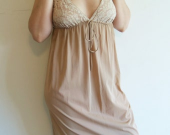 Vintage Light Brown Lace Maxi Nightgown