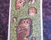 Linen Tea Towel - Owls In The Green Leaves - Designed By Lois Long - Linen Kitchen Towel - Linen Hand Towel - Owls and Birds Green Leaves