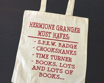 Hermione Granger, Harry Potter Inspired Tote Bag - Hermione Granger's Must Haves