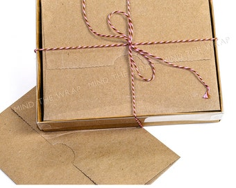 12 sets - A2 Kraft Box with Clear Lid - 4.5 X 1 X 6 inches - 2 piece box - Fits A2 Note Cards & Envelopes