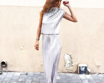 evening womens suit /skirt suit / skirt and top / pliss skirt suit / womens suit / golden womens suit