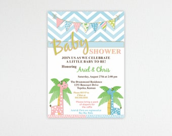 Baby Shower Invitation, Couples Baby Shower Invite, Sprinkle Invitation, Gender Reveal, Sip and See, digital, printable, B12854