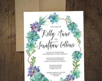 Boho Watercolor Wedding Invitation - Succulents - Leaves - Laurel - Calligraphy - Nature - Desert - Greens - Blues - DIY Printable - Digital