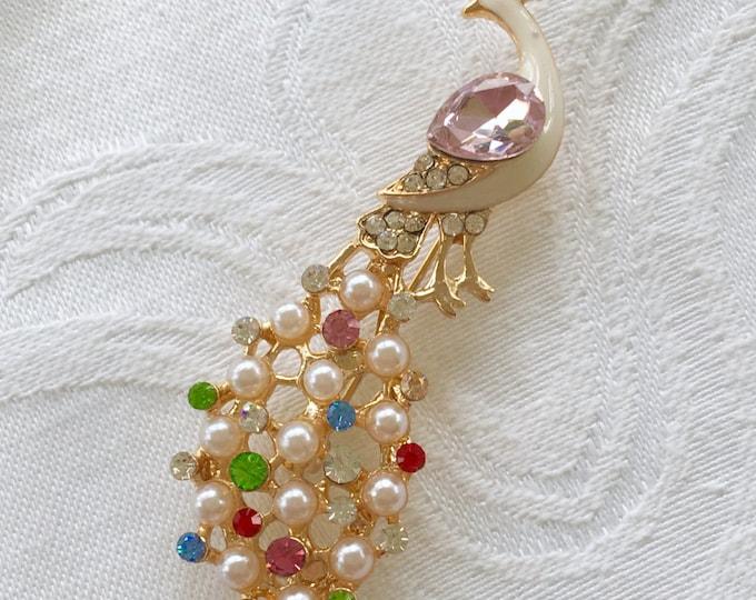 Peacock Brooch, Pearl Rhinestone, Vintage Peacock Pin, Bird Jewelry