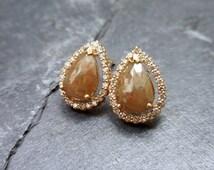 Peach Pear Diamond Stud Earrings, Conflict Free, Rose Cut Diamonds, Diamond Halo, Rustic, Modern, Luxe