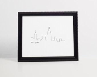 New York Skyline Art Print - Black and White - Art Print - 8x10