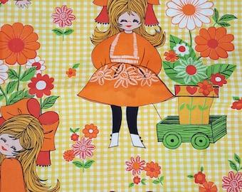 Vintage Fabric Cotton Yellow Check Orange Girl Flowers 4.8metres