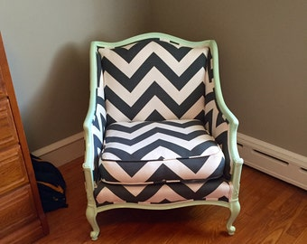 Reupholstered Antique Bergere Chair - Chevron + Mint